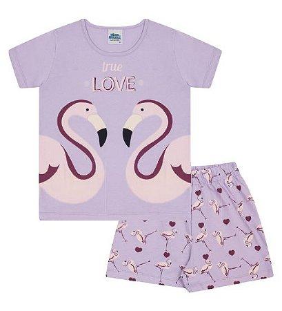 Pijama cor lilás com estampa flamingo que brilha no escuro
