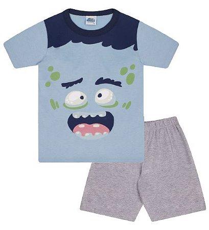 Pijama cor azul bebê, estampa Frankenstein, brilha no escuro