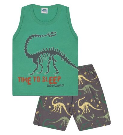 Pijama cor verde marine com estampa dinossauro, brilha no escuro