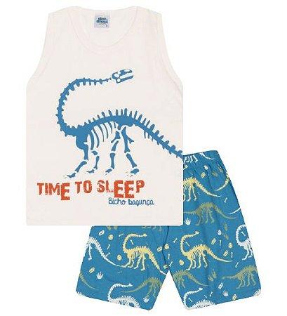 Pijama cor algodão cru com estampa dinossauro, brilha no escuro
