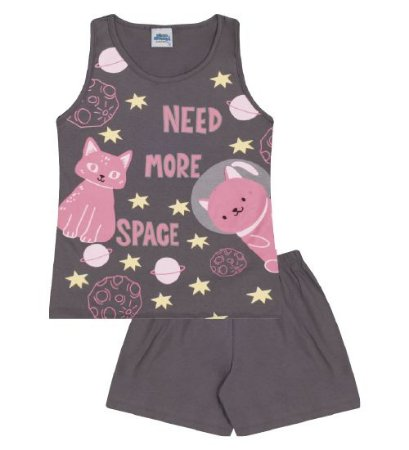 Pijama cor cinza escuro estampa gatinho astronauta, brilha no escuro