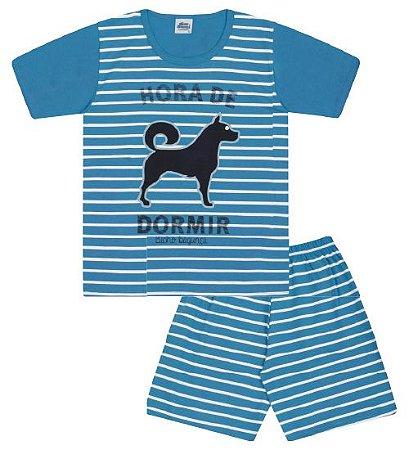 Pijama cor azul céu com estampa de cachorro que brilha no escuro