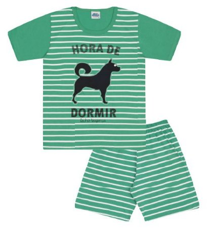 Pijama na cor verde marine com estampa cachorro, brilha no escuro