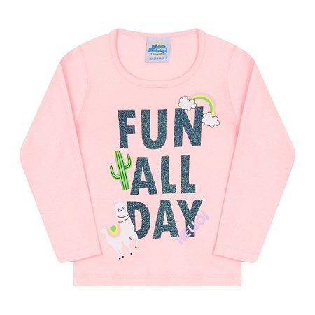 Blusa estampada cor rosa com detalhes em glitter
