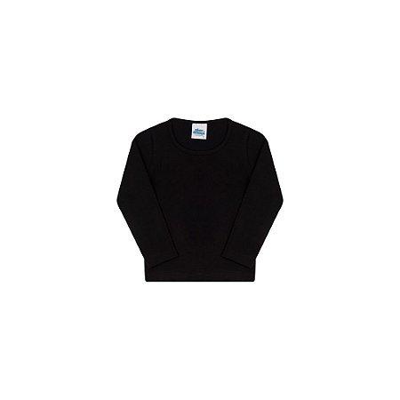 Blusa em cotton sem estampa cor preto