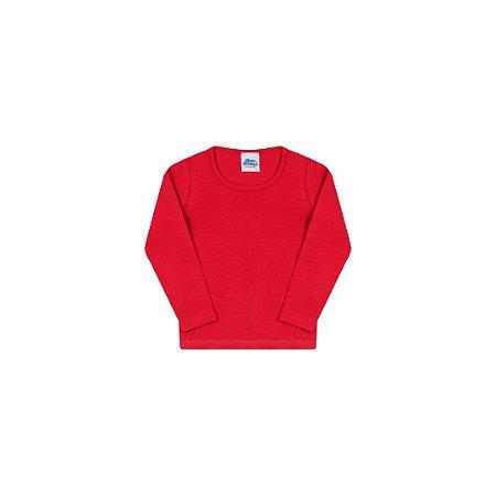 Blusa em cotton sem estampa cor escarlate vermelho