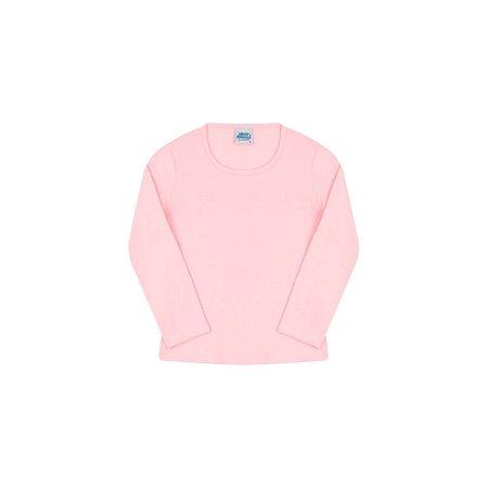 Blusa em cotton de manga comprida sem estampa cor rosa bebê