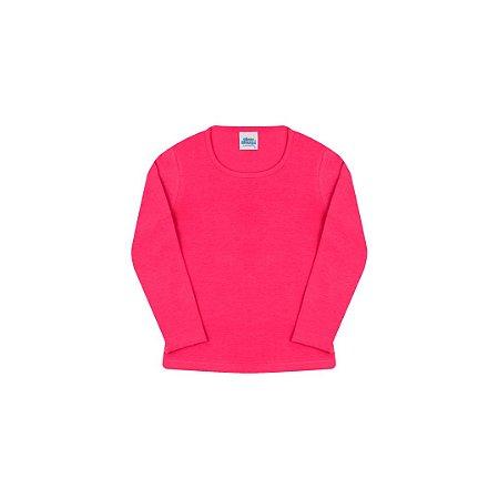 Blusa em cotton de manga comprida sem estampa cor pink