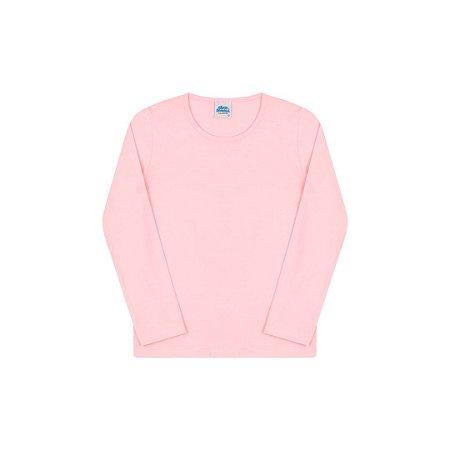 Blusa em cotton sem estampa cor rosa bebê