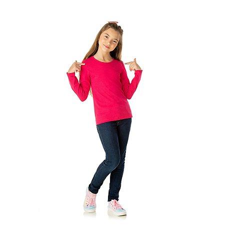 Blusa em cotton sem estampa cor pink