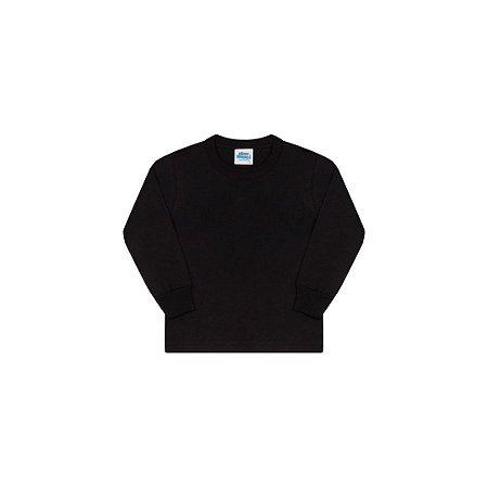 Camisa em meia malha sem estampa cor preto