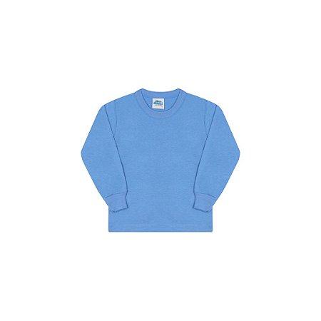 Camisa em meia malha sem estampa cor azul pavão