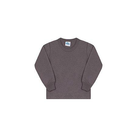 Camisa em meia malha sem estampa cor cinza escuro
