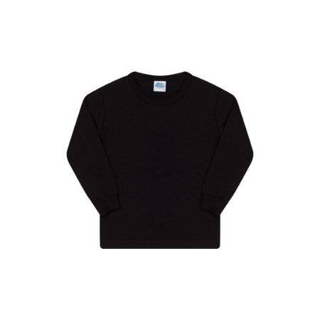 Camisa básica com gola redonda e punho cor preto