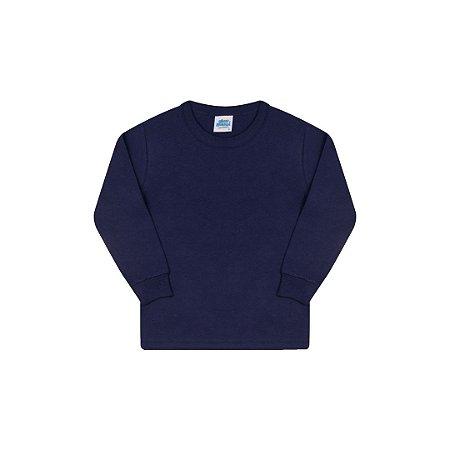 Camisa básica com gola redonda e punho cor marinho