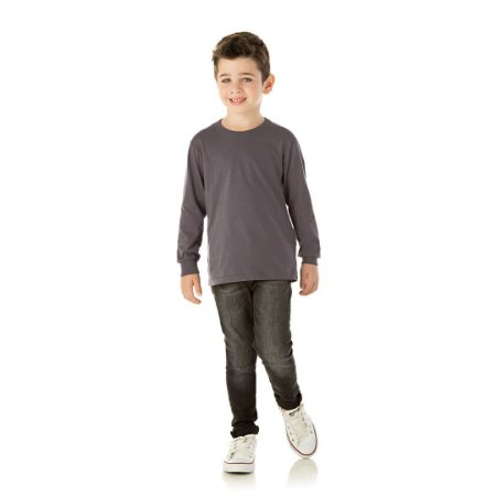 Camisa básica com gola redonda e punho cor cinza escuro
