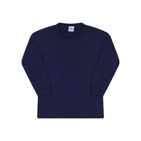 Camisa em meia malha sem estampa cor marinho