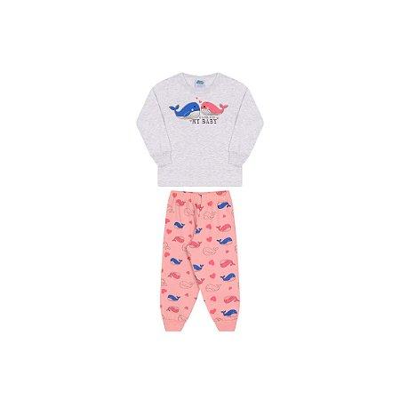 Pijama menina cor mescla banana, estampa de baleia que brilham escuro