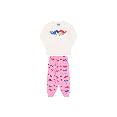 Pijama menina cor cru, estampa aleia que brilham escuro