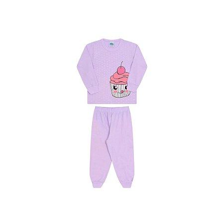 Pijama menina lavanda, estampa cupcake que brilha escuro