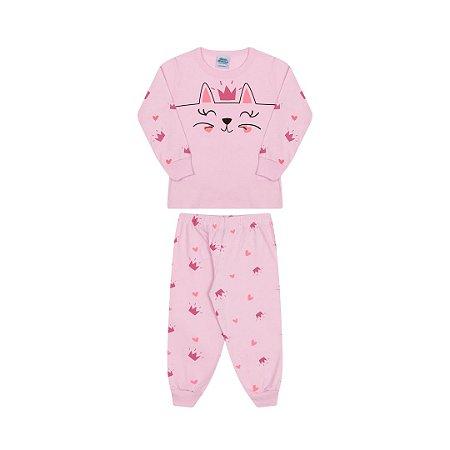 Pijama manga comprida, rosa bebê, estampa gato, brilha escuro