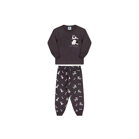 Pijama cor chumbo, estampa cachorro que brilha escuro