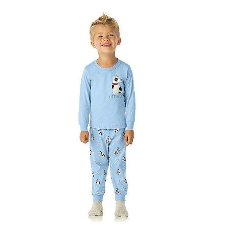 Pijama azul bebê, estampa cachorro que brilha escuro