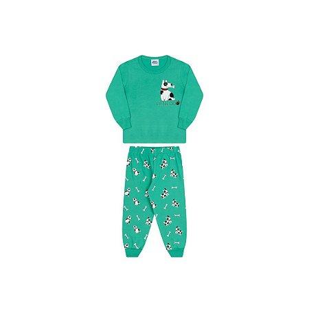 Pijama cor verde marine, estampa cachorro que brilha escuro