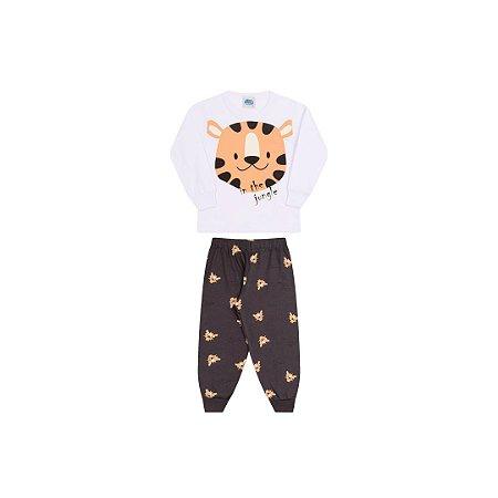 Pijama cor branco, estampa tigre que brilha escuro