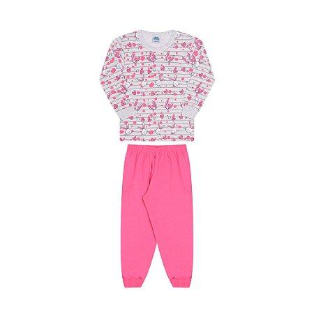 Pijama cor mescla banana, estampa de coelho que brilha escuro