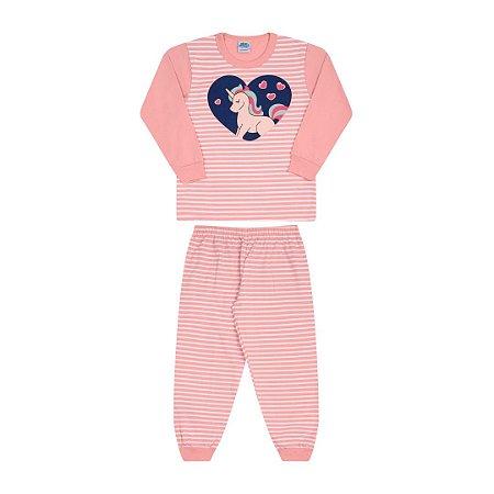Pijama cor pêssego com estampa de unicórnio que brilha no escuro