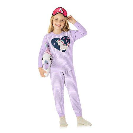 Pijama cor lavanda com estampa de unicórnio que brilha no escuro