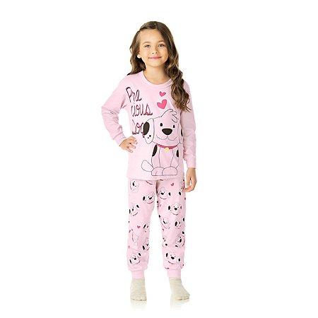 Pijama cor rosa bebê, estampa de cachorrinho que brilha no escuro