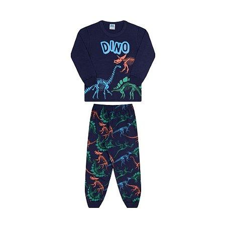 Pijama cor marinho, estampa de dinossauro que brilha no escuro