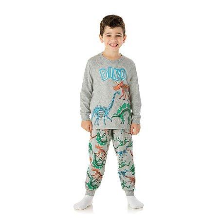 Pijama cor mescla, estampa de dinossauro que brilha no escuro