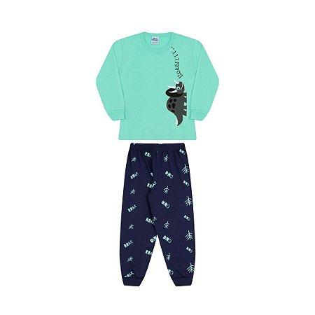 Pijama cor verde claro, estampa de dinossauro que brilha escuro