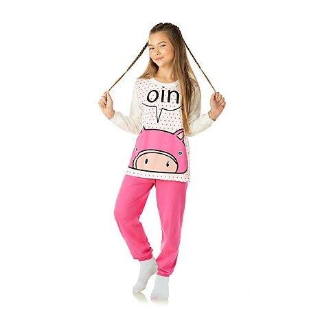 Pijama cor cru, estampa que brilha no escuro