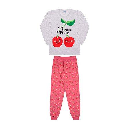 Pijama cor mescla banana, estampa de cereja que brilha no escuro