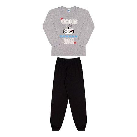 Pijama cor mescla, estampa vídeo game que brilha no escuro