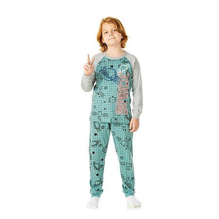 Pijama cor verde outono, estampa de planetas que brilha no escuro