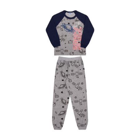 Pijama cor mescla, estampa de planetas que brilha no escuro