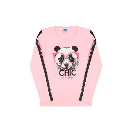 Blusa manga comprida com estampa de urso cor rosa bebê