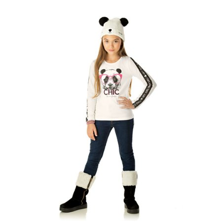 Blusa manga comprida com estampa de urso cor cru