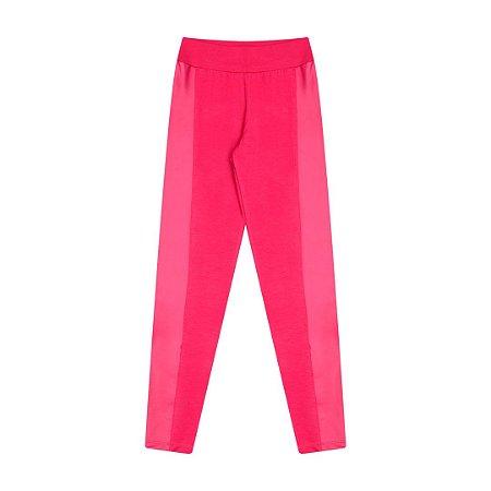 Legging em cotton com detalhe cirrê na lateral cor pink