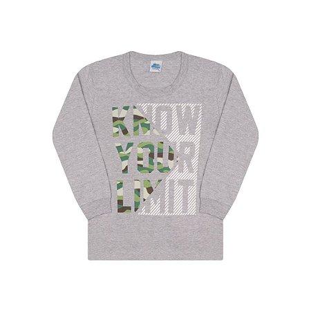 Camisa em meia malha cor mescla com detalhe em puff