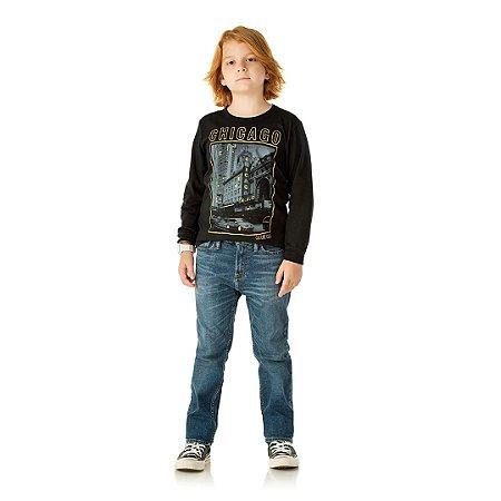 Camisa em meia malha cor preto com detalhes em gel na estampa