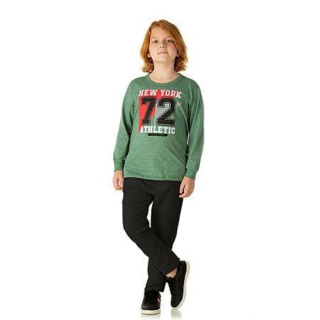 Camisa em meia malha moline com estampa cor verde floresta