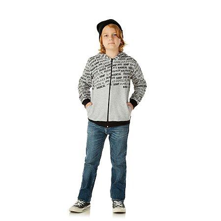 Jaqueta em moletom com capuz e bolso cor mescla