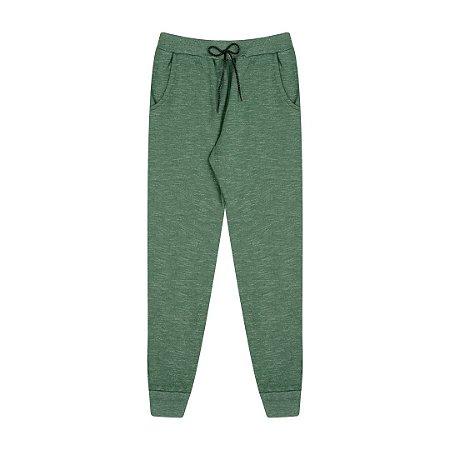 Calça de moletom moline com cortão e bolso cor verde floresta