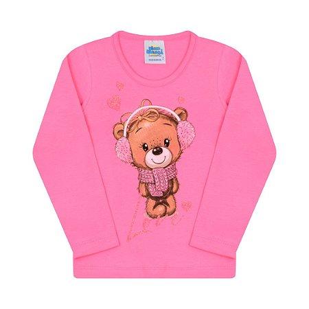 Blusa em cotton cor chiclete com estampa de ursinho
